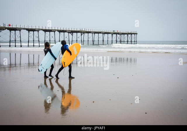 Saltburn by the sea, North Yorkshire, England, UK. 3rd Aug, 2017. UK Weather: A wet and windy start to the day at - Stock Image