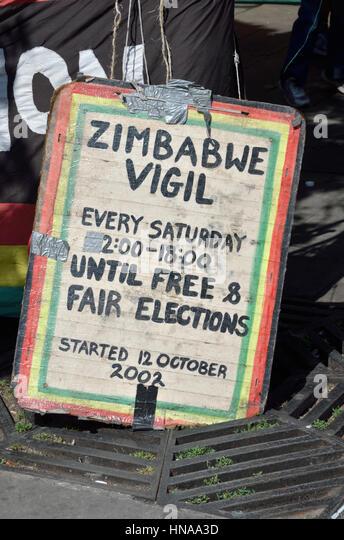 Zimbabwe vigil protest placard - Stock Image