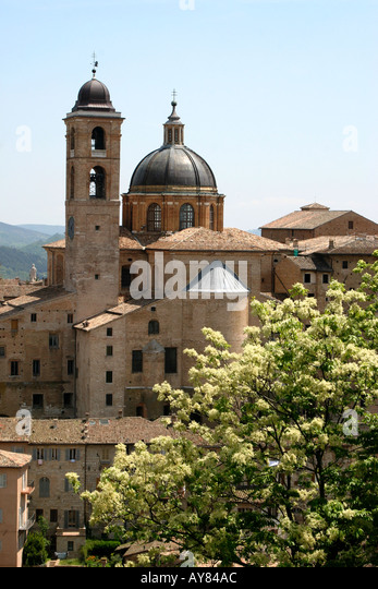 The much visited Ducal Palace in Urbino Le Marche The Marches Italy - Stock Image