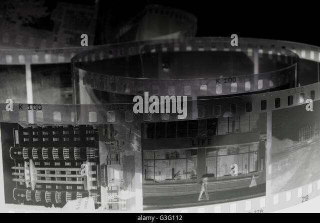 Negative shot of buildings - Stock Image