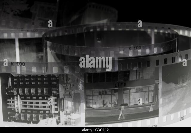 Negative shot of buildings - Stock Image