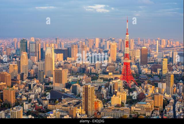 Tokyo aerial panoramic view - Stock Image