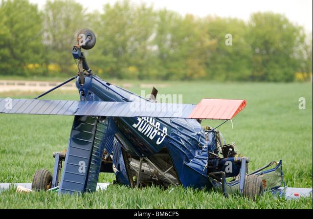 Plane crash involving UKIP candidate Nigel Farage at Hinton in the Hedges, Northamptonshire, 06-05-2010. - Stock Image