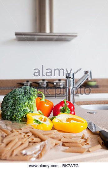 Pasta and vegetables - Stock Image