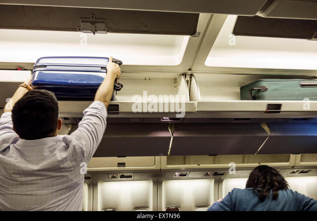Dallas Texas Dallas Ft. Fort Worth International Airport DFW American Airlines aircraft cabin boarding departure - Stock Image