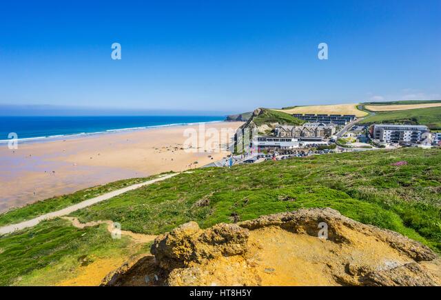 United Kingdom, Cornwall, Watergate Bay, beach and seaside resort north of Newquay - Stock Image
