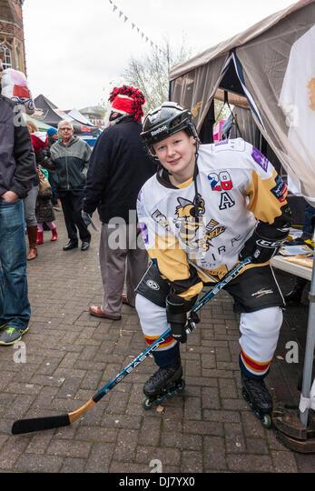 Sarah Gunstone of the Bracknell Bees ice hockey team at the annual Wokingham Winter Carnival. Wokingham, Berkshire, - Stock Image