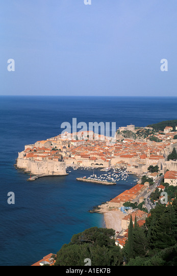 aerial-like overview Dubrovnik Croatia Old Town harbor harbour Medieval Walled City - Stock Image