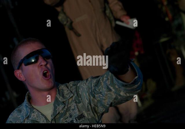 Senior Airman Mike Johnson, 451st Expeditionary Aeromedical Evacuation Squadron Detachment 1 Contingency Aeromedical - Stock Image