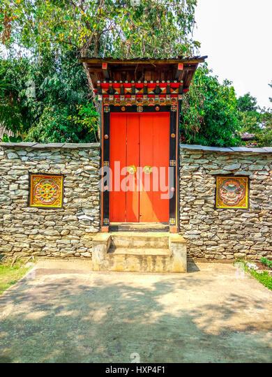 Beautiful Bhutan Traditional Style of Big Door/ Entrance - Stock Image
