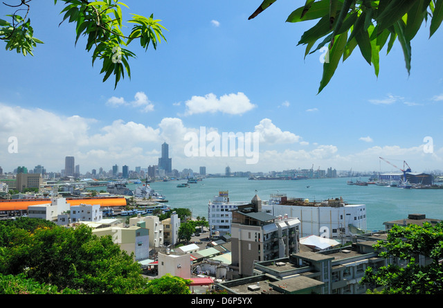 Overview of Kaohsiung harbour and the Love River urban canal, Kaohsiung City, Taiwan, Asia - Stock-Bilder