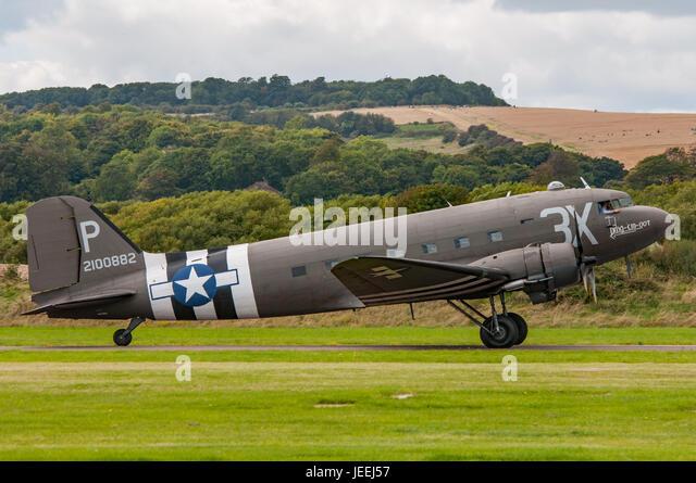 Douglas C-47 Skytrain (Dakota DC-3) at Shoreham Airshow 2014. - Stock Image