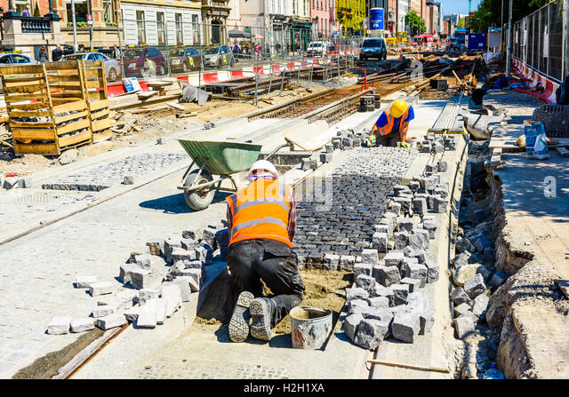 Work on extension to the LUAS tram network in Dublin Ireland - Stock Image