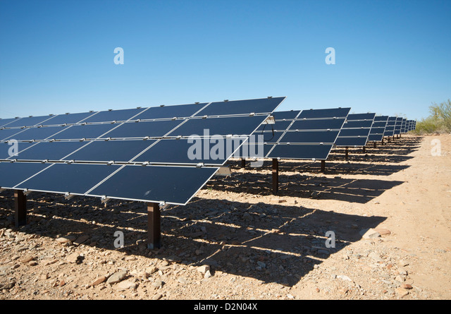 Solar panels, near Phoenix, Arizona, United States of America, North America - Stock Image