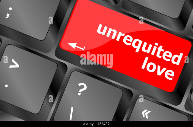 unrequited love on key or keyboard showing internet dating concept - Stock Image