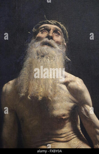 Biblical figure. Job, 1880. By Leon Bonnat (1833-1922). Orsay Museum. Paris. - Stock Image