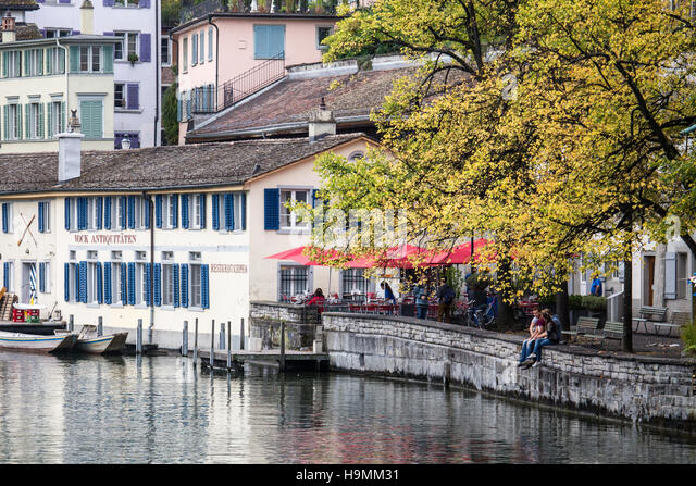 Along the Limmat River in Zurich, Switzerland - Stock Image