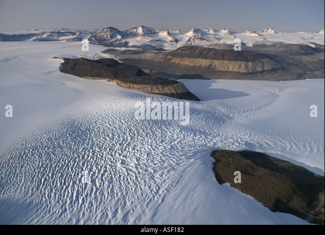 Taylor Glacier pours like frozen rapids down Upper Taylor Valley Dry Valleys Transantarctic Mountains Antarctica - Stock Image