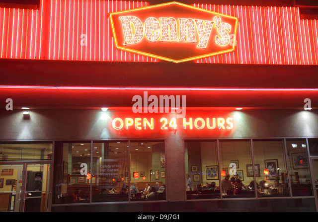 Nevada Las Vegas The Strip South Las Vegas Boulevard Denny's restaurant open 24 hours neon sign night nightlife - Stock Image