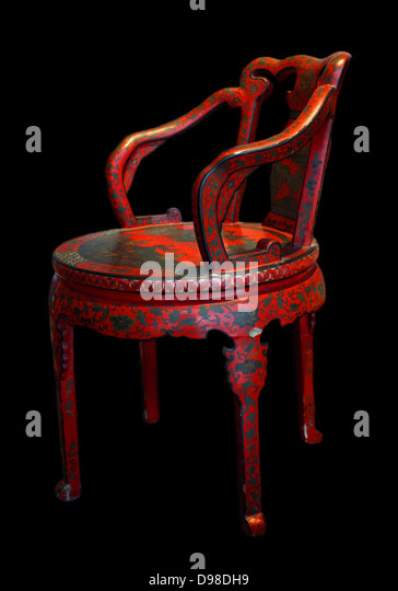 Lacquer chair, 1800s, China. - Stock-Bilder