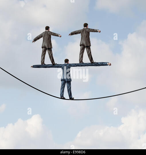 Business people manager concept as a businessman walking on a tight rope with two other businesspeople standing - Stock-Bilder