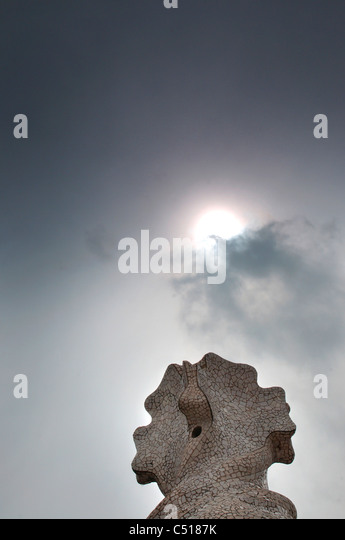 Spain, Barcelona, Casa Mila, mosaic chimney sculpture - Stock Image