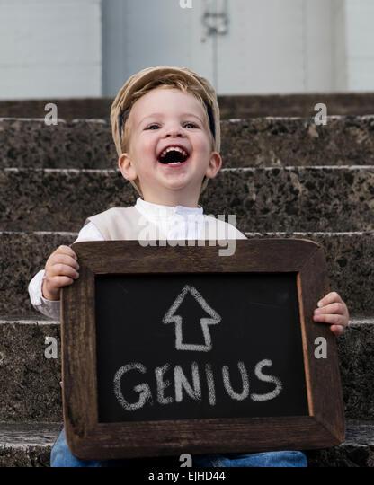 Self confessed genius boy - Stock Image