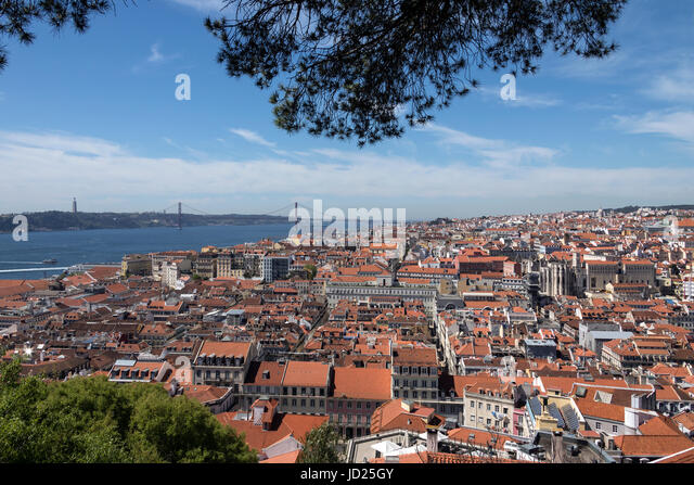 View over the rooftops of the city of Lisbon in Portugal. - Stock Image