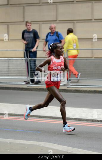 Rose Chelimo, Bahrain, 2017 IAAF world championship women's marathon, London, United Kingdom - Stock Image