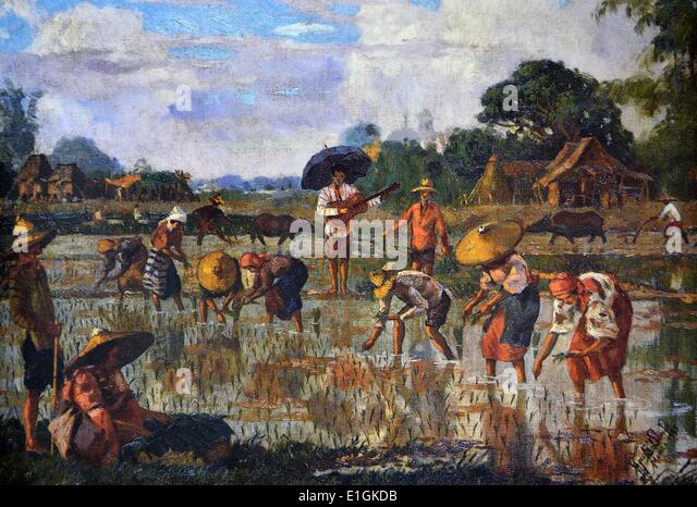 Jose B David, Planting Rice, 1935.  Oil on canvas - Stock Image