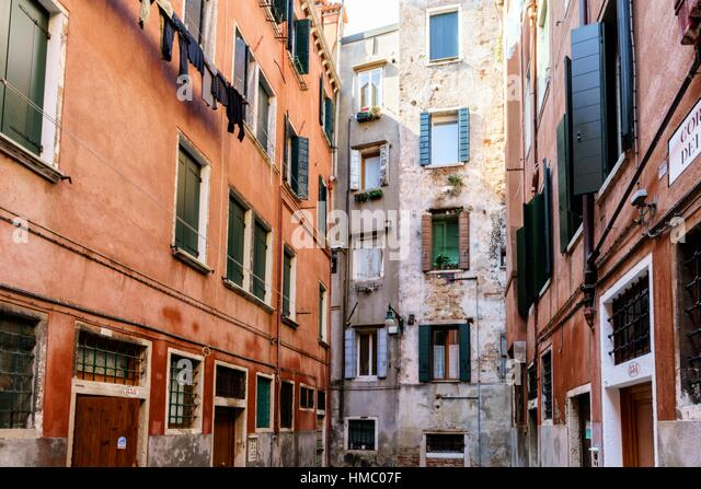 Old houses in the San Polo district of Venice Italy - Stock Image