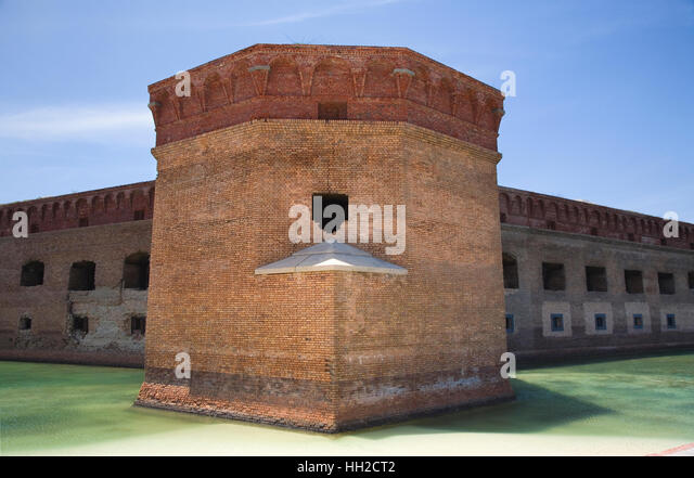 Dry Tortugas National Park - Lighthouse - Brick Bastion of Fort Jefferson - Stock Image