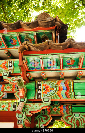 Detail of an information board in Jongmyo Royal Ancestral Shrine in Seoul, South Korea. - Stock Image