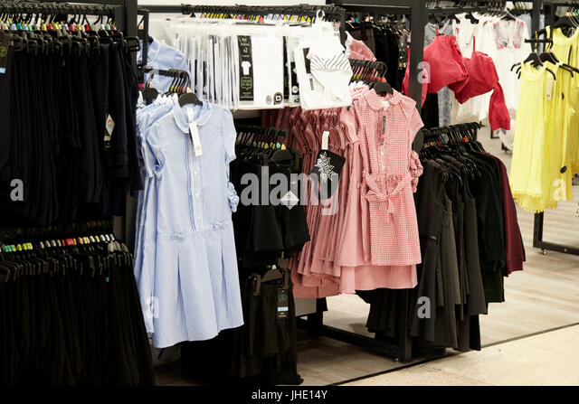 cheap school uniforms for sale in a uk tesco supermarket - Stock Image