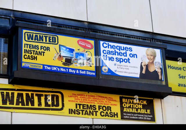 A wanted items for cash poster for a buy and sell store, Cash for gold, pawn brokers, cheques cashed, buyback option - Stock Image