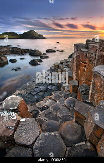 Giants Causeway at dusk, Northern Ireland. - Stock-Bilder