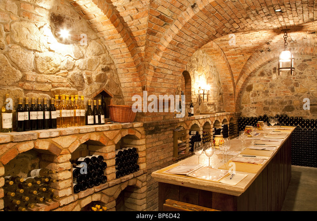 Wine tasting room at Castello di Amorosa. Napa Valley, California. Property released - Stock Image
