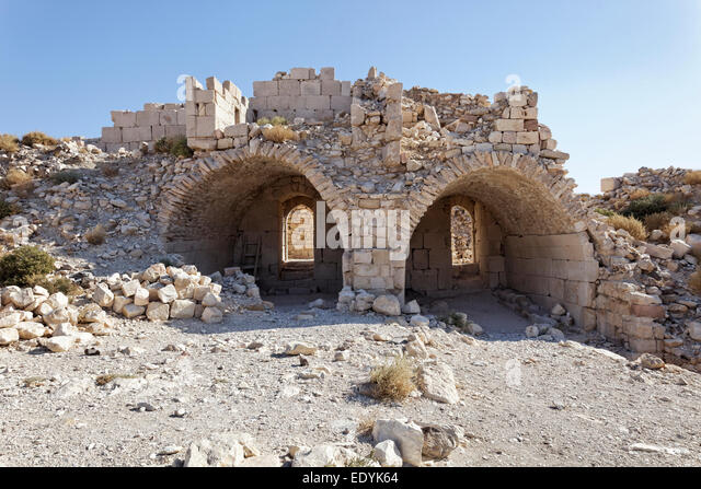 Vault, Montreal Crusader castle, also Mons Regalis, Shoubak or Shawbak, fortress, hill castle, Shoubak, built in - Stock Image