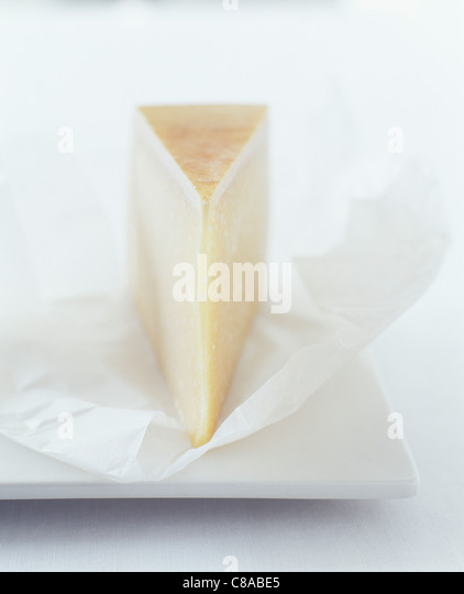 Piece of Salers cheese - Stock Image