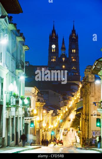Gothic Basilica del Voto Nacional, old town, UNESCO World Heritage Site, Quito, Ecuador, South America - Stock Image