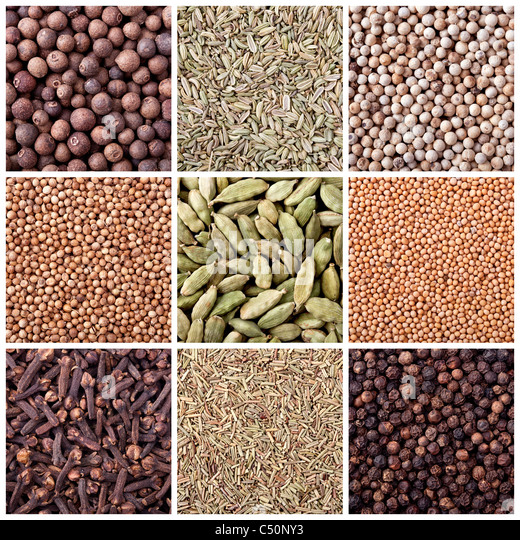 Background of different spices - Stock Image
