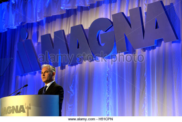 Magna CFO Vince Galifi speaks during the company's Annual Shareholder Meeting in Toronto, May 8, 2014. REUTERS/Aaron - Stock Image