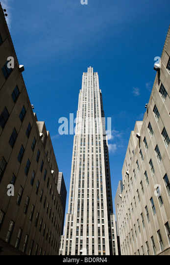 GE building, Rockefeller Center, Manhattan, New York City, low angle view - Stock Image