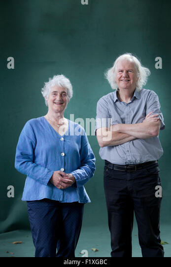 Valerie Gillies, the first woman Makar  and Ron Butlin, the Scottish poet and novelist, at the Edinburgh International - Stock Image