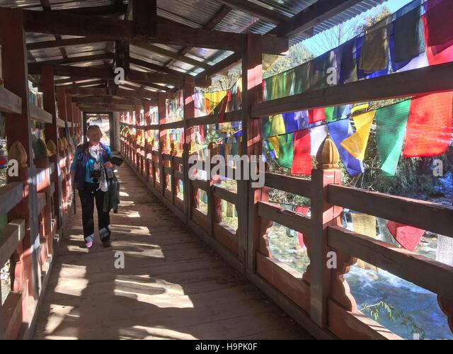 BHUTAN  Ancient bridge with prayer flags near Punakha. Photo Tony Gale - Stock-Bilder