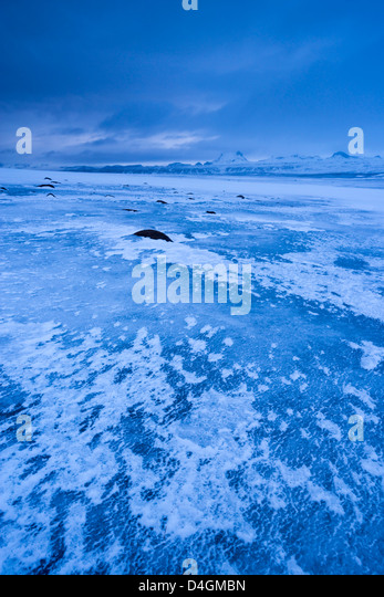 Frozen landscape in Iceland. Winter (January) 2013. - Stock Image