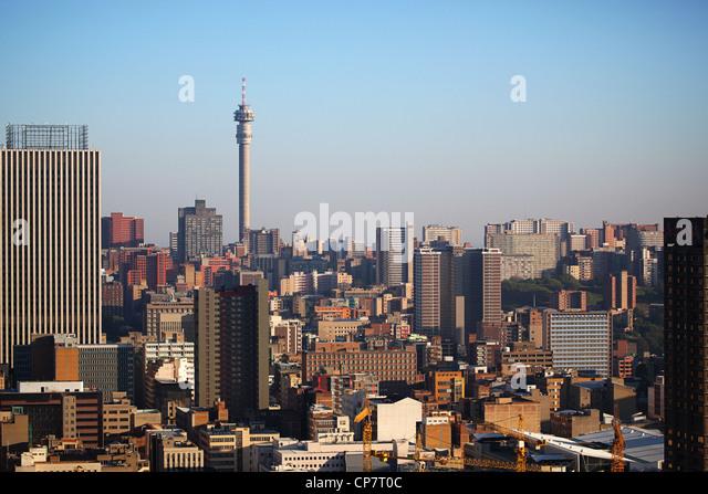 Johannesburg skyline and 'Hillbrow Tower' - Stock Image