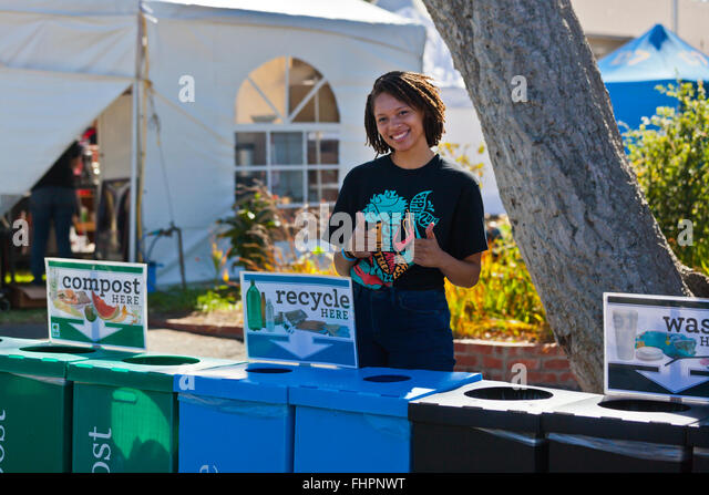 RECYCLING on the  grounds at at the Monterey Jazz Festival - California - Stock Image
