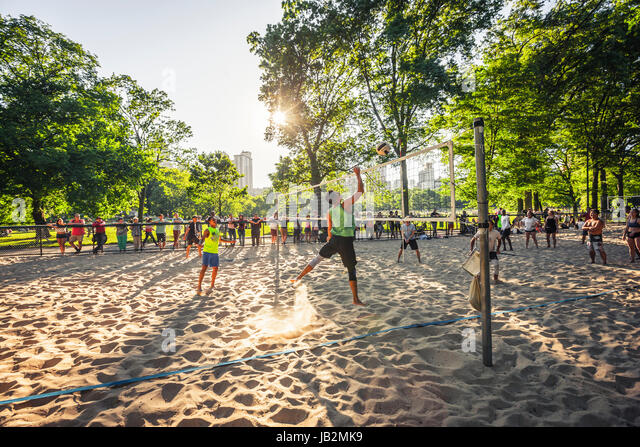 A beach volleyball in Central Park, New York City - Stock Image