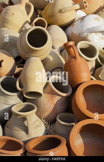 Tone jugs, Göreme, Cappadocia, Anatolia, Turkey, - Stock Image